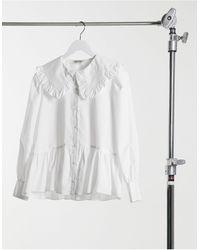 Miss Selfridge Prairie Frill Collar Shirt - White