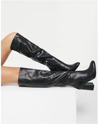 Pull&Bear Черные Высокие Ботинки Из Искусственной Кожи -черный Цвет
