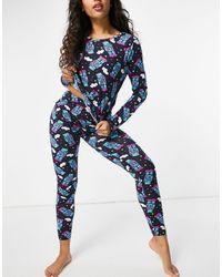 ASOS Robot Long Sleeve Tee & legging Pyjama Set - Blue