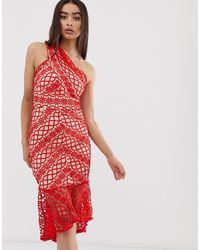 Love Triangle Lace One Shoulder Midi Dress - Red