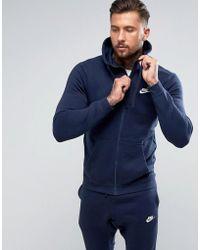Nike - Zip Up Club Hoodie In Navy 804389-451 - Lyst