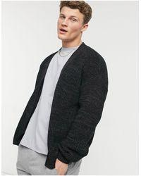 ASOS Oversized Gebreid En Geribbeld Vest Met V-hals - Zwart