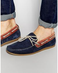 Red Tape Driving Loafers In Blue Suede - Blue