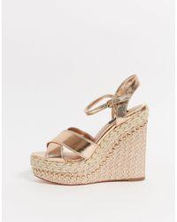River Island Gold Wide Fit Embellished Wedge Sandals - Metallic