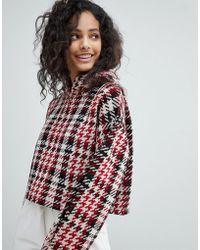 Bershka - Knitted Check Cropped Hoodie - Lyst