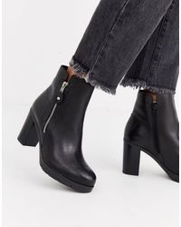 ALDO Side Zip Leather Heel Boot-black