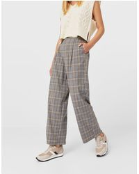 Stradivarius Recycled Polyester Wide Leg Relaxed Dad Trouser - Grey