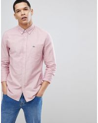 Lacoste - Long Sleeve Oxford Logo Shirt In Red - Lyst