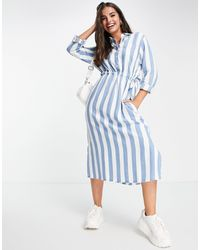 Lee Jeans Lee Striped Shirt Worker Midi Dress - Blue