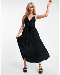 Bershka Tiered Smock Detail Maxi Dress - Black