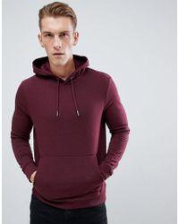 New Look Hoodie With Pocket In Burgundy - Red