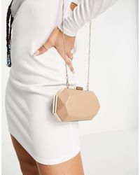 Forever New Cameron Prism Clutch Bag With Gold Chain - Brown
