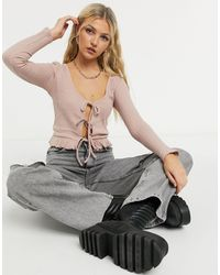 TOPSHOP Lace Up Front Cardigan - Pink