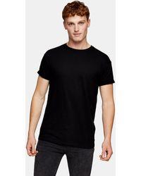 TOPMAN Slub Roll Sleeve T-shirt - Black