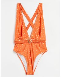 Chelsea Peers Orange Spotted Swimsuit With Criss Cross Back - Red