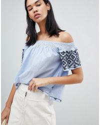Pepe Jeans - Paola Off Shoulder Embroidered Top - Lyst