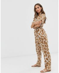 Pieces Abstract Animal Print Jumpsuit - Multicolor