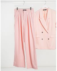 Daisy Street Relaxed Wide Leg Trousers With Pleat Front - Pink