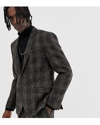 Heart & Dagger – Schmale Anzugjacke aus Harris-Tweed - Braun