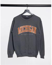 """Missguided Свитшот С Графическим Принтом """"michigan"""" -серый - Многоцветный"""