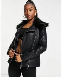 UNIQUE21 Черная Виниловая Байкерская Куртка Unique 21-черный Цвет