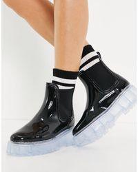 ASOS Черные Резиновые Ботинки Челси На Массивной Прозрачной Подошве - Черный