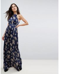 Wyldr Floral Satin Printed Maxi Dress - Blue