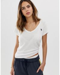 Abercrombie & Fitch - Deep V Neck T-shirt - Lyst
