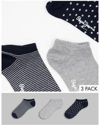 Pepe Jeans Набор Из 3 Пар Спортивных Носков Темно-синего И Серого Меланжевого Цвета -темно-синий