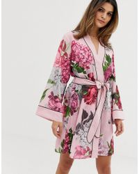 Ted Baker - B By Palace Gardens Floral Print Kimono In Light Pink - Lyst
