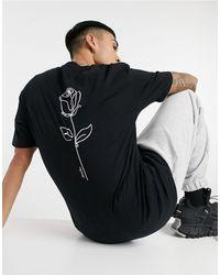Jack & Jones Originals - Oversized T-shirt Met Roos Op - Zwart