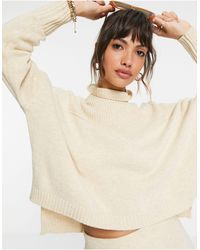 Y.A.S Knitted Sweater Co-ord With Ribbed High Neck - Natural
