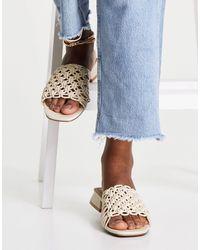 ASOS Flexion Woven Mule Sandals - Natural