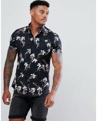 ASOS - Skinny Fit Floral Print Shirt - Lyst