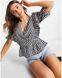 New Look Gingham Frill Blouse - Black