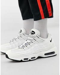 Nike Белые Кожаные Кроссовки Air Max 95-черный - Белый
