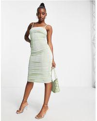 Fashionkilla Square Neck Midi Bodycon Dress - Green