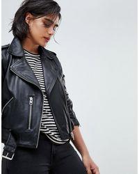 AllSaints – Balfern – Bikerjacke aus Leder - Schwarz
