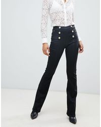 Morgan High Waist Flare Jean With Buttons - Black