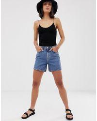 Weekday - Mom Denim Shorts In Mid Blue - Lyst