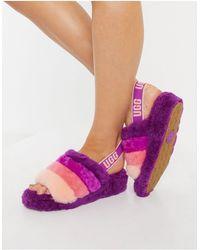 UGG Слиперы Ягодного Цвета В Полоску Fluff Yeah Slide-многоцветный - Пурпурный