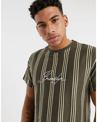 New Look Brooklyn Embroidered Vertical Stripe T-shirt - Brown