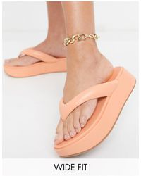 ASOS Wide Fit Ferris Chunky Flip Flop Sandals - Orange