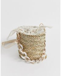 South Beach Straw Bucket Bag With Resin Link Handle And Linen Tie - Natural