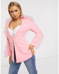 Club L London Розовый Строгий Пиджак С Отделкой Из Органзы На Рукавах