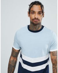 ASOS - T-shirt With Contrast Yoke And Chevron Cut And Sew In Navy - Lyst