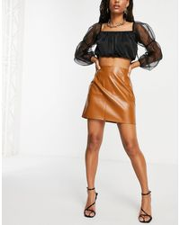 Naanaa Jupe en imitation cuir à taille haute - Fauve - Multicolore