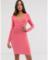 The Girlcode Power Shoulder Bandage Dress - Pink