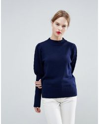 ASOS | Premium Jumper With High Neck And Cable Sleeve | Lyst