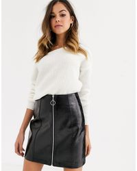 New Look Zip Through Vinyl Mini Skirt - Black